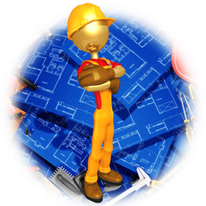 Gold Guy With Home Construction Blueprints